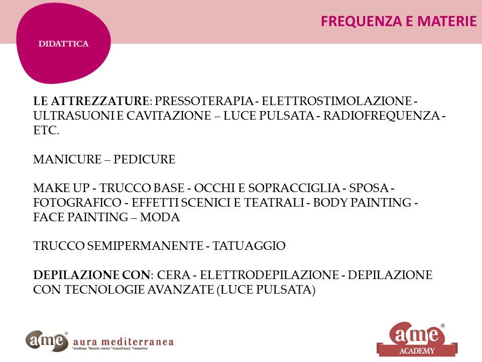 FREQUENZA E MATERIE LE ATTREZZATURE: PRESSOTERAPIA - ELETTROSTIMOLAZIONE - ULTRASUONI E CAVITAZIONE – LUCE PULSATA - RADIOFREQUENZA - ETC.