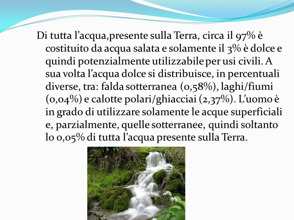 Di tutta l'acqua,presente sulla Terra, circa il 97% è costituito da acqua salata e solamente il 3% è dolce e quindi potenzialmente utilizzabile per usi civili.