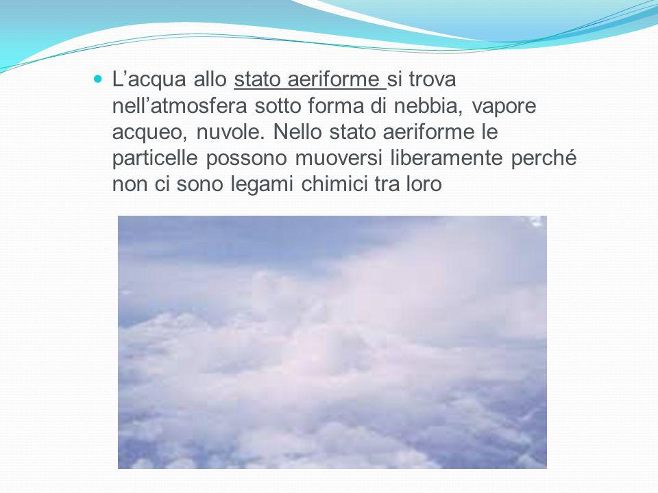 L'acqua allo stato aeriforme si trova nell'atmosfera sotto forma di nebbia, vapore acqueo, nuvole.