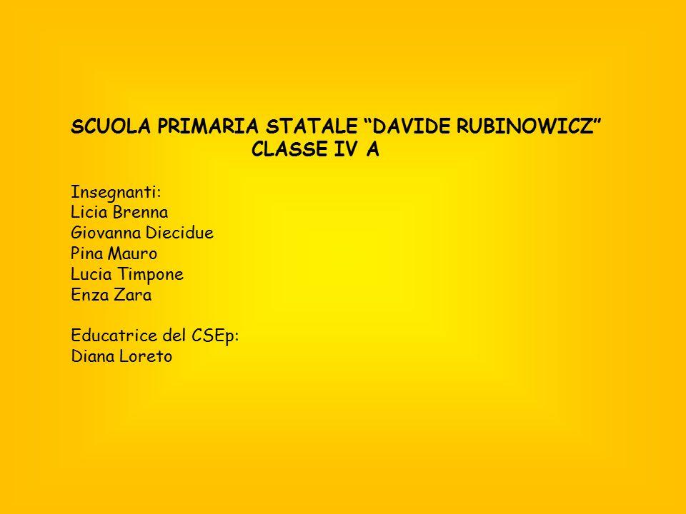 SCUOLA PRIMARIA STATALE DAVIDE RUBINOWICZ CLASSE IV A