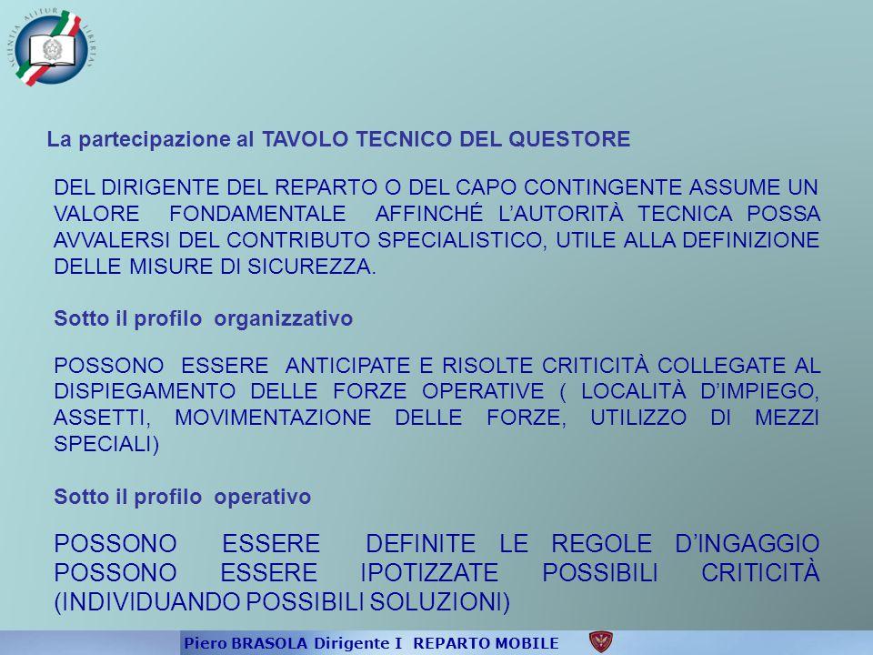 La partecipazione al TAVOLO TECNICO DEL QUESTORE