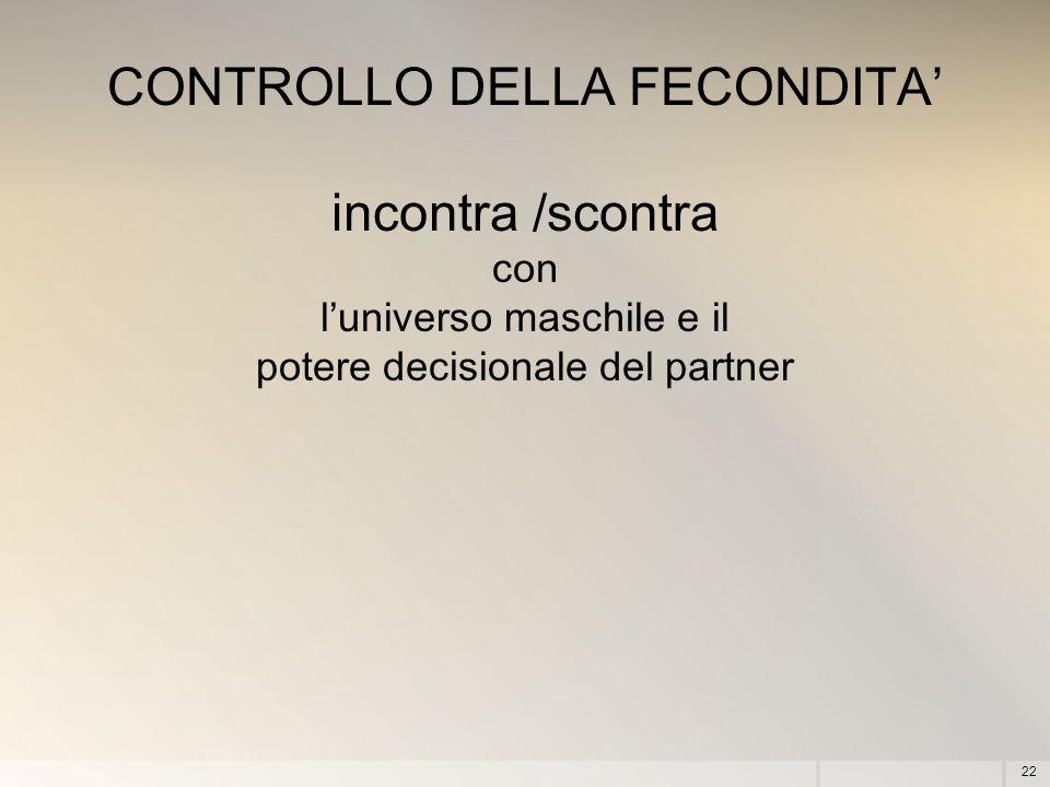 CONTROLLO DELLA FECONDITA' incontra /scontra