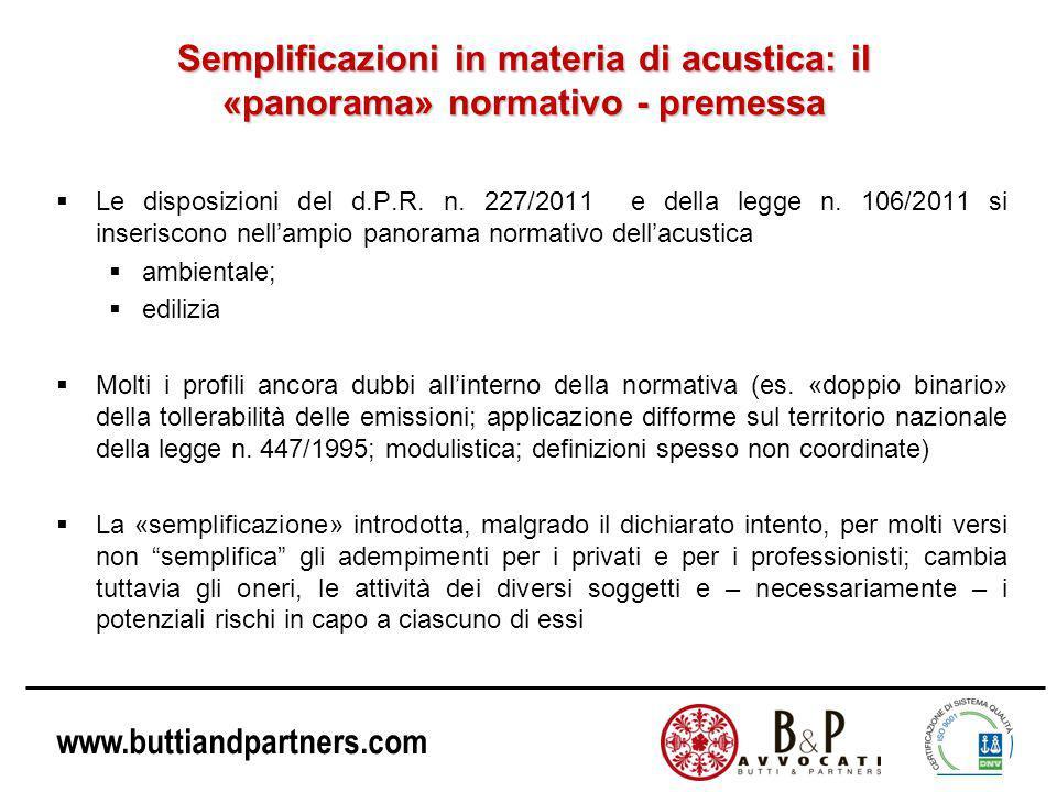 Semplificazioni in materia di acustica: il «panorama» normativo - premessa