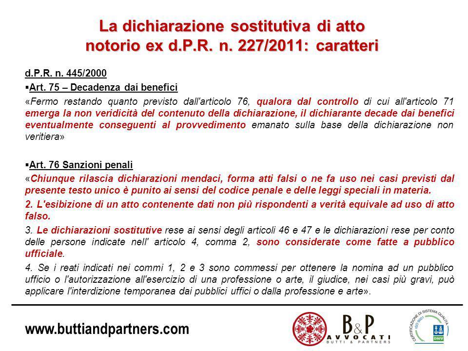 La dichiarazione sostitutiva di atto notorio ex d. P. R. n