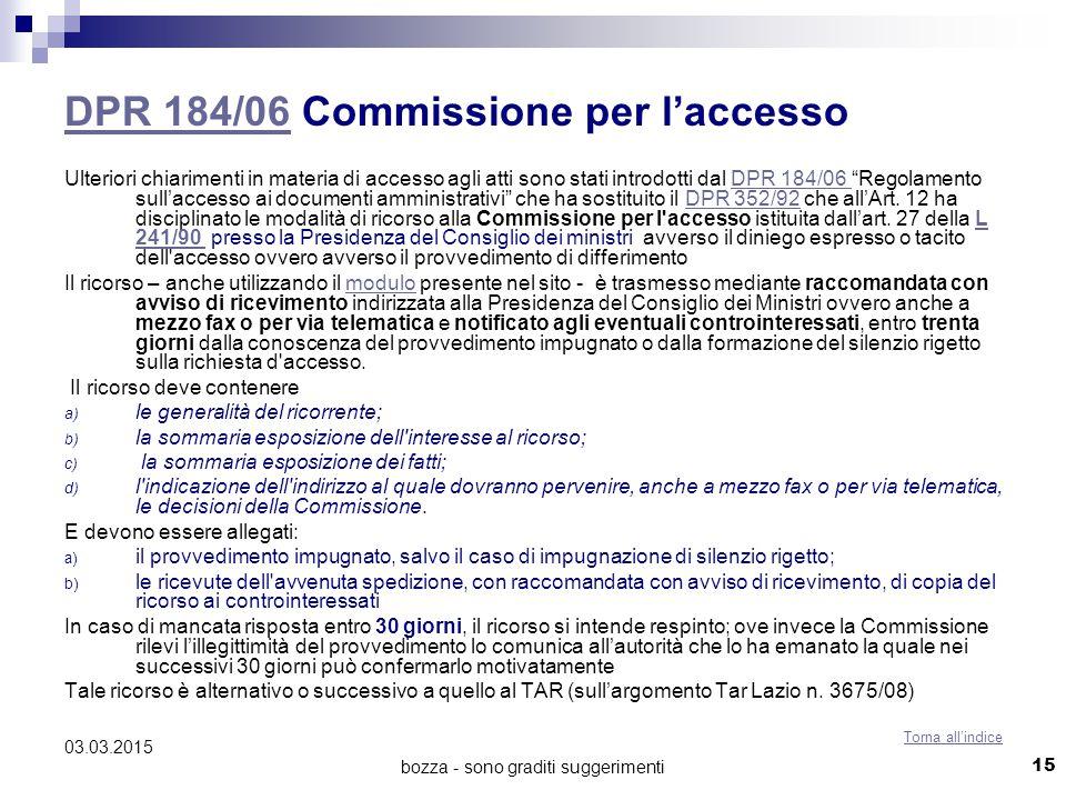 DPR 184/06 Commissione per l'accesso