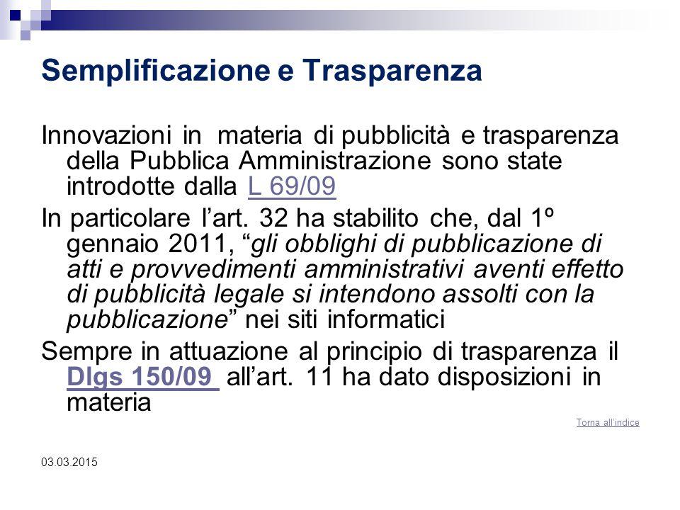 Semplificazione e Trasparenza