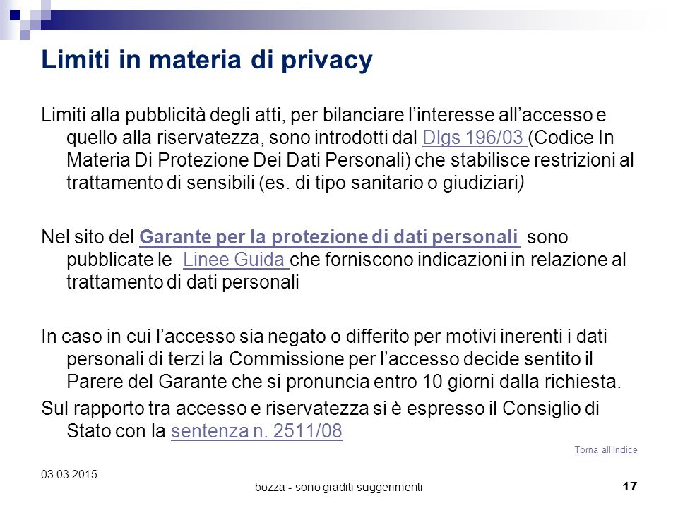 Limiti in materia di privacy