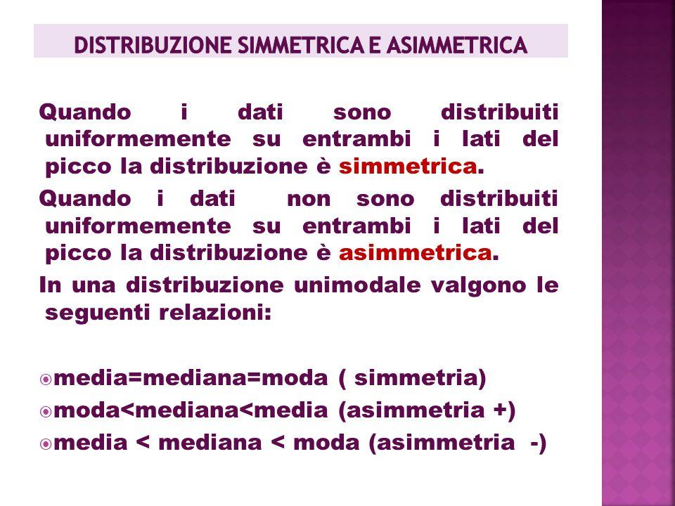 DISTRIBUZIONE SIMMETRICA E ASIMMETRICA