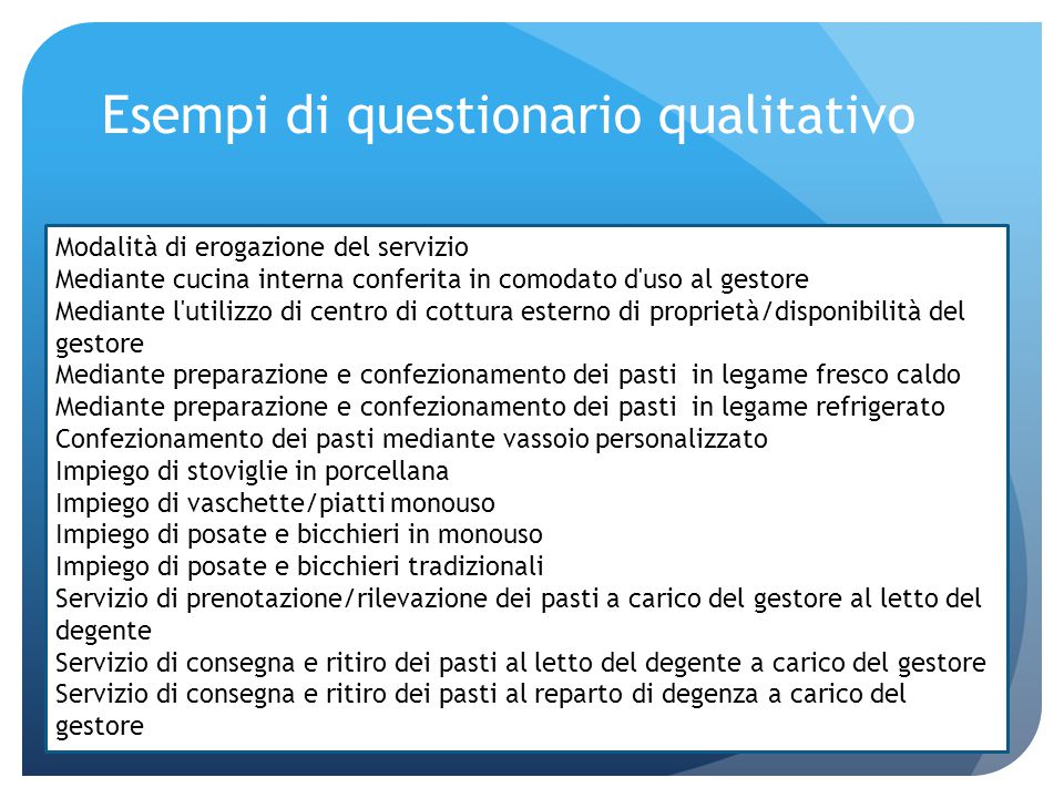 Esempi di questionario qualitativo