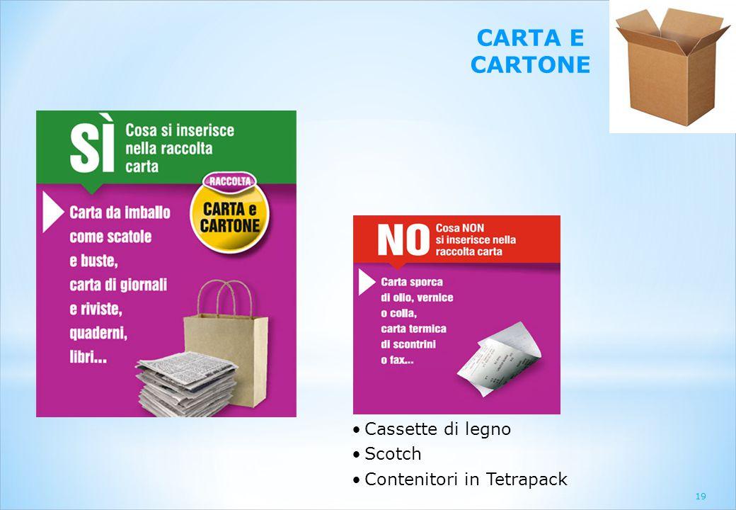 CARTA E CARTONE Cassette di legno Scotch Contenitori in Tetrapack 19