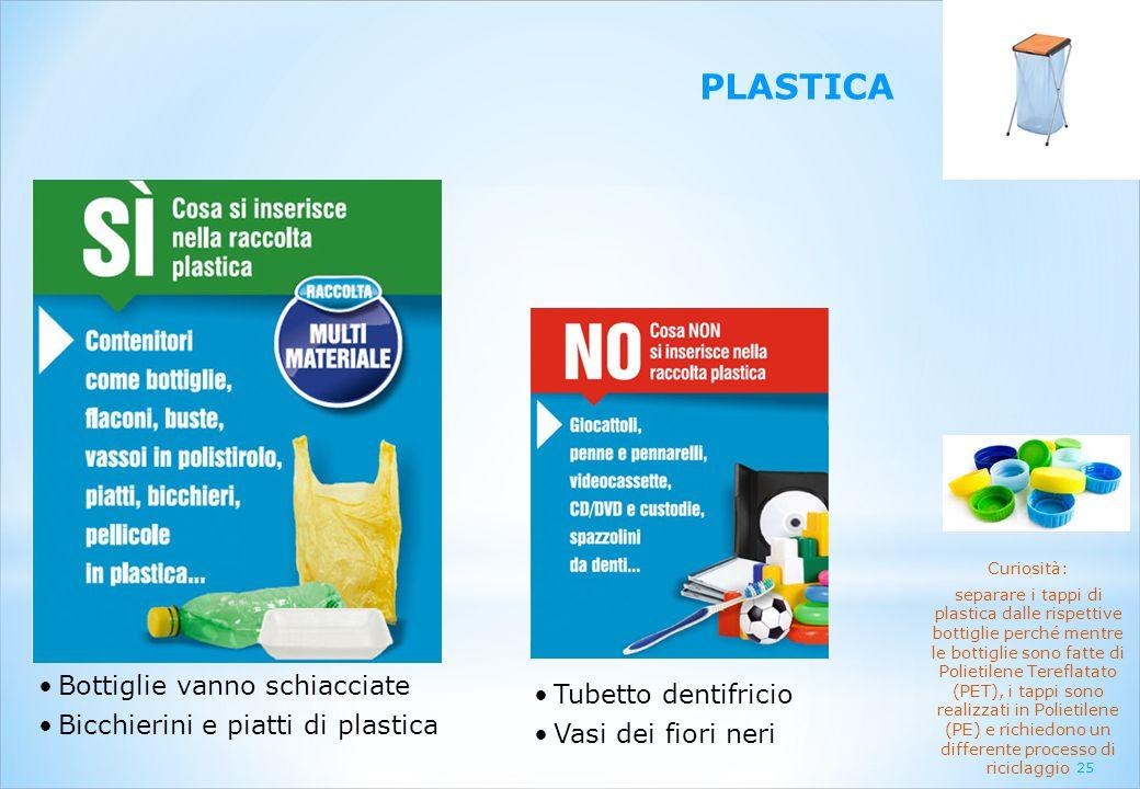 PLASTICA Bottiglie vanno schiacciate Tubetto dentifricio