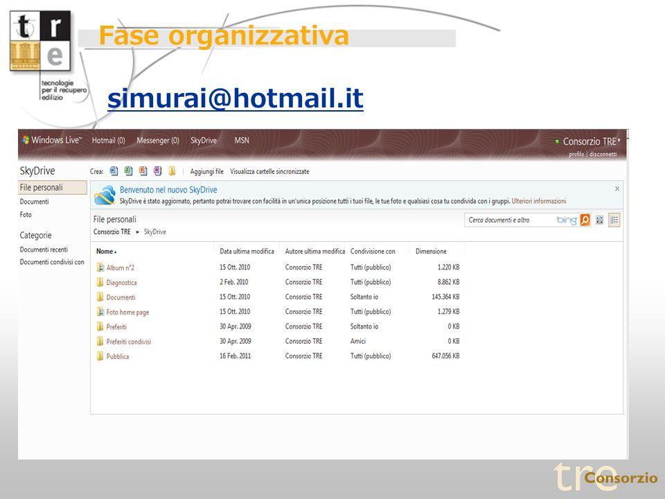 Fase organizzativa simurai@hotmail.it