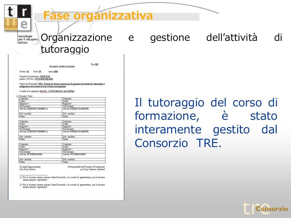 Fase organizzativa Organizzazione e gestione dell'attività di tutoraggio.