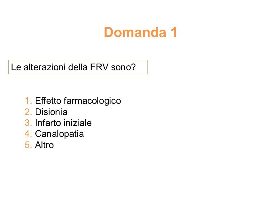 Domanda 1 Le alterazioni della FRV sono Effetto farmacologico