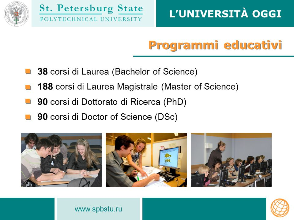Programmi educativi L'Università oggi