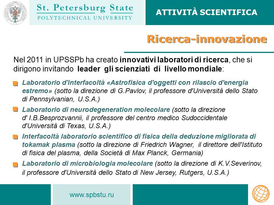 Ricerca-innovazione ATTIVITÀ SCIENTIFICA