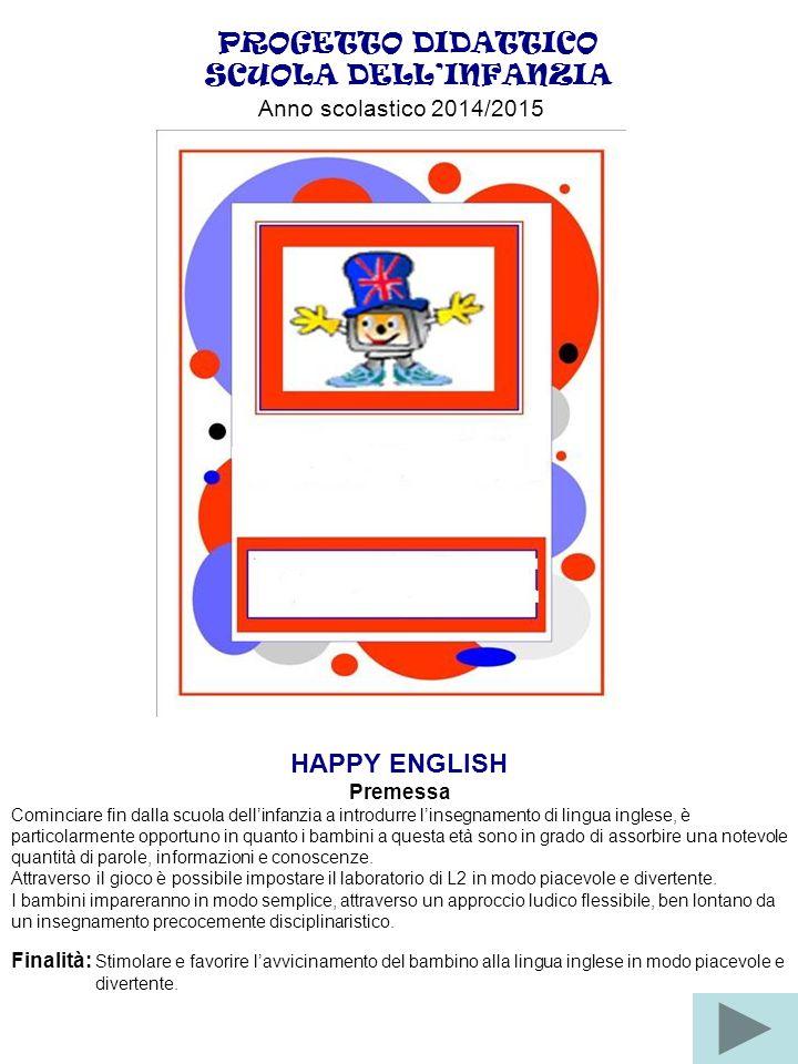 PROGETTO DIDATTICO SCUOLA DELL'INFANZIA HAPPY ENGLISH