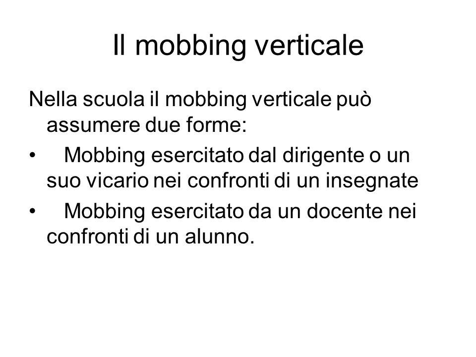 Il mobbing verticale Nella scuola il mobbing verticale può assumere due forme: