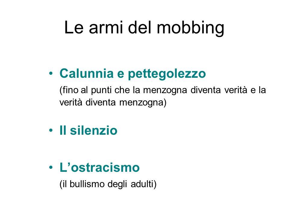 Le armi del mobbing Calunnia e pettegolezzo