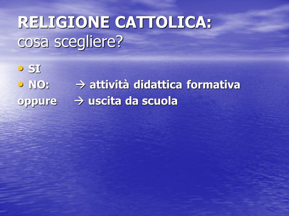 RELIGIONE CATTOLICA: cosa scegliere