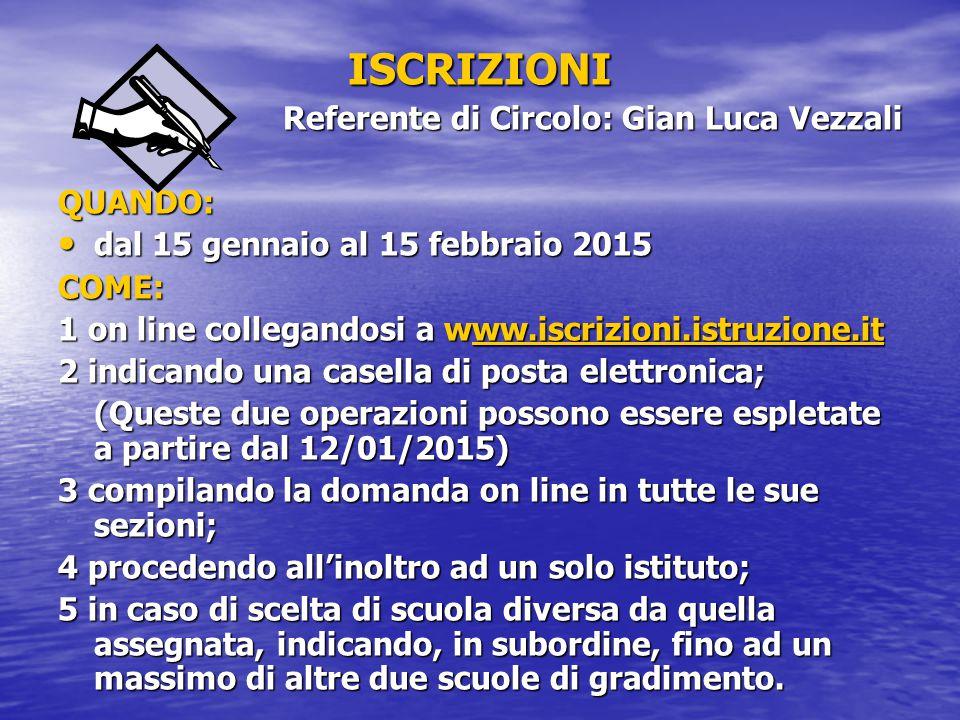 ISCRIZIONI Referente di Circolo: Gian Luca Vezzali QUANDO: