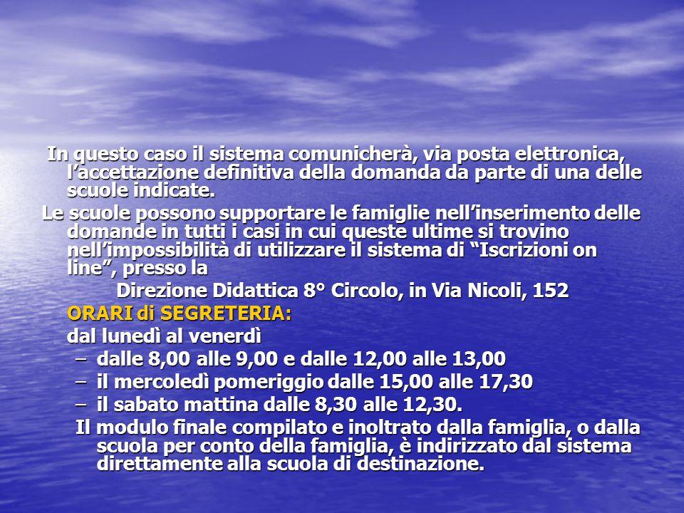 Direzione Didattica 8° Circolo, in Via Nicoli, 152