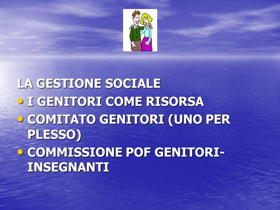 LA GESTIONE SOCIALE I GENITORI COME RISORSA.
