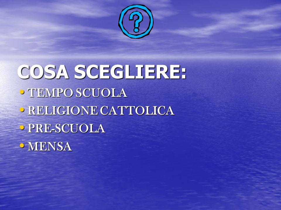COSA SCEGLIERE: TEMPO SCUOLA RELIGIONE CATTOLICA PRE-SCUOLA MENSA