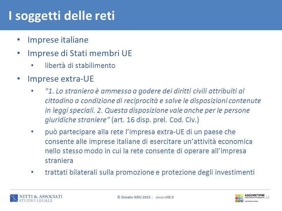 I soggetti delle reti Imprese italiane Imprese di Stati membri UE