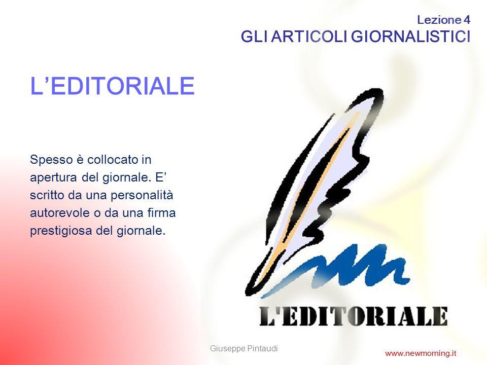 L'EDITORIALE GLI ARTICOLI GIORNALISTICI