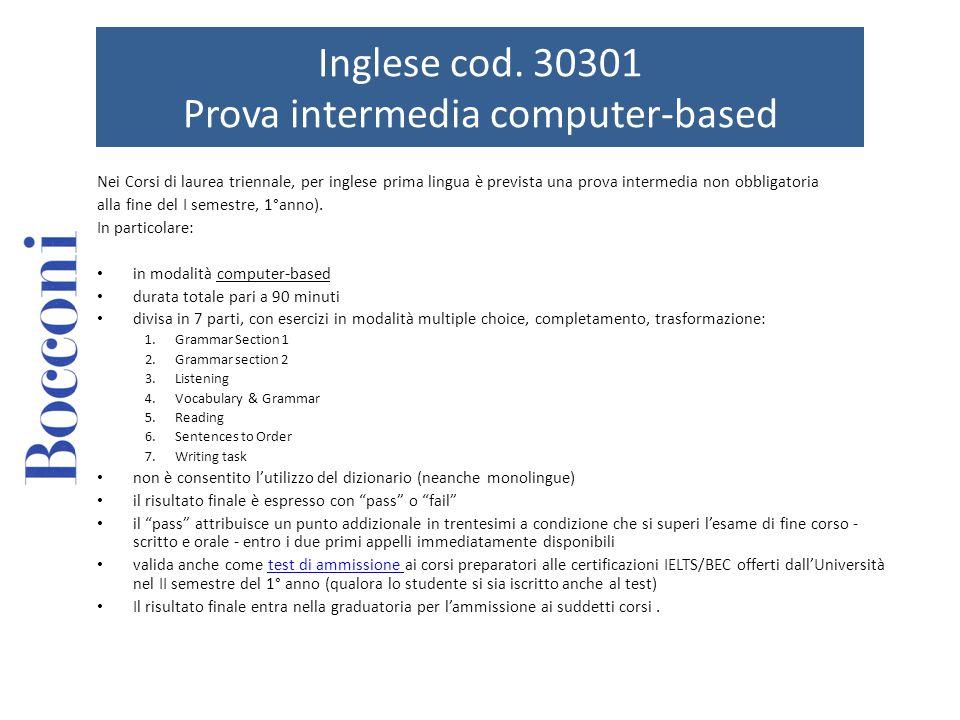 Inglese cod. 30301 Prova intermedia computer-based