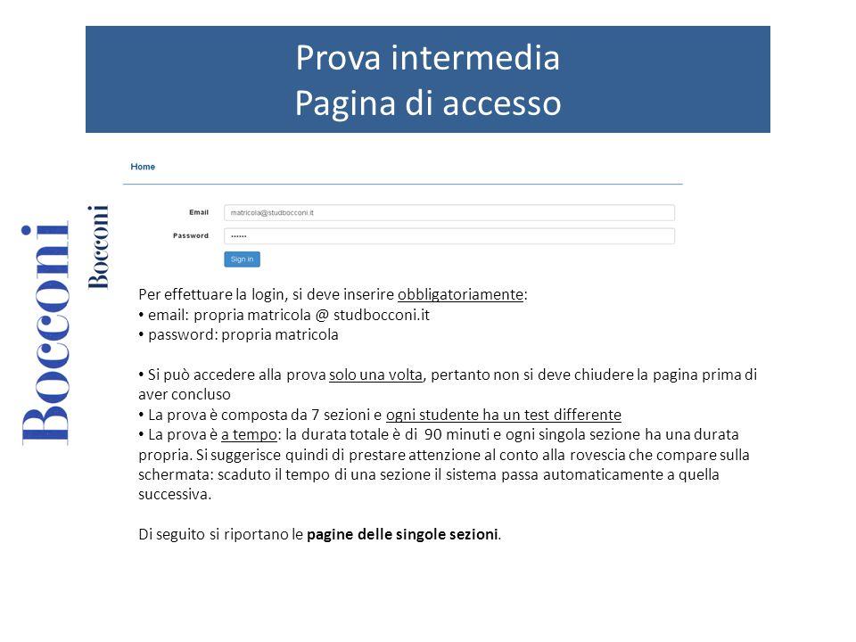 Prova intermedia Pagina di accesso