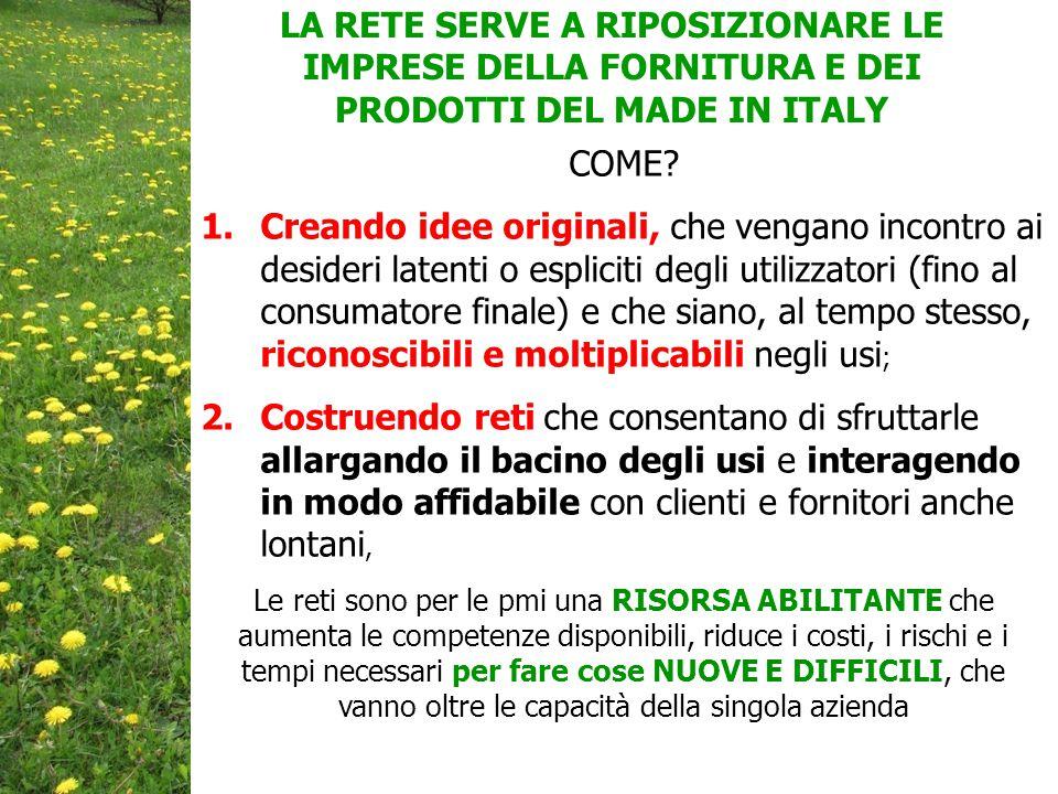 LA RETE SERVE A RIPOSIZIONARE LE IMPRESE DELLA FORNITURA E DEI PRODOTTI DEL MADE IN ITALY