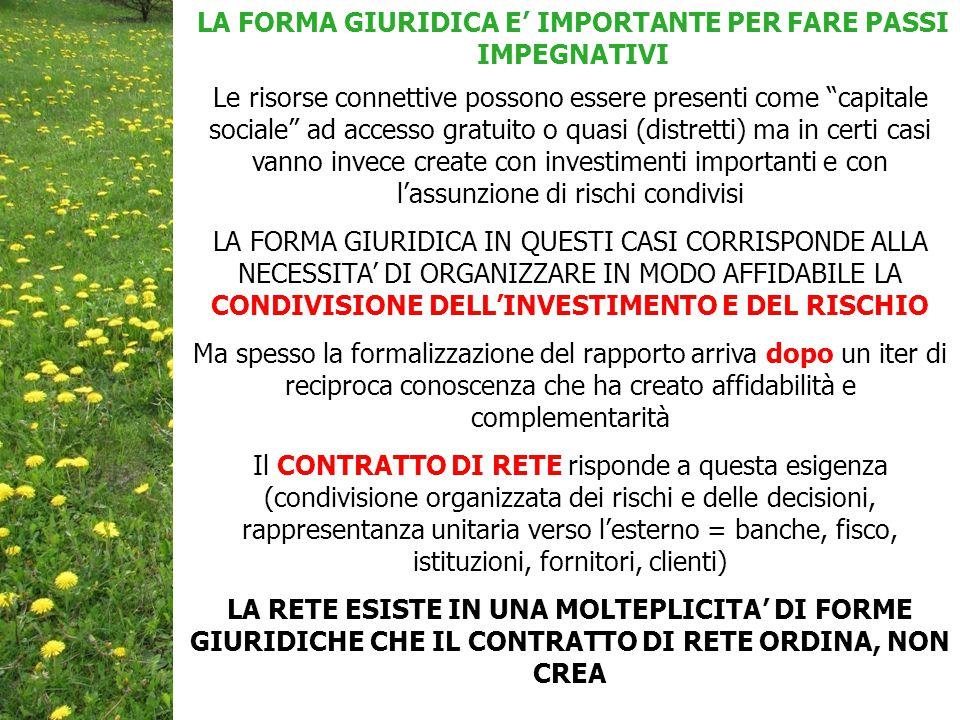 LA FORMA GIURIDICA E' IMPORTANTE PER FARE PASSI IMPEGNATIVI