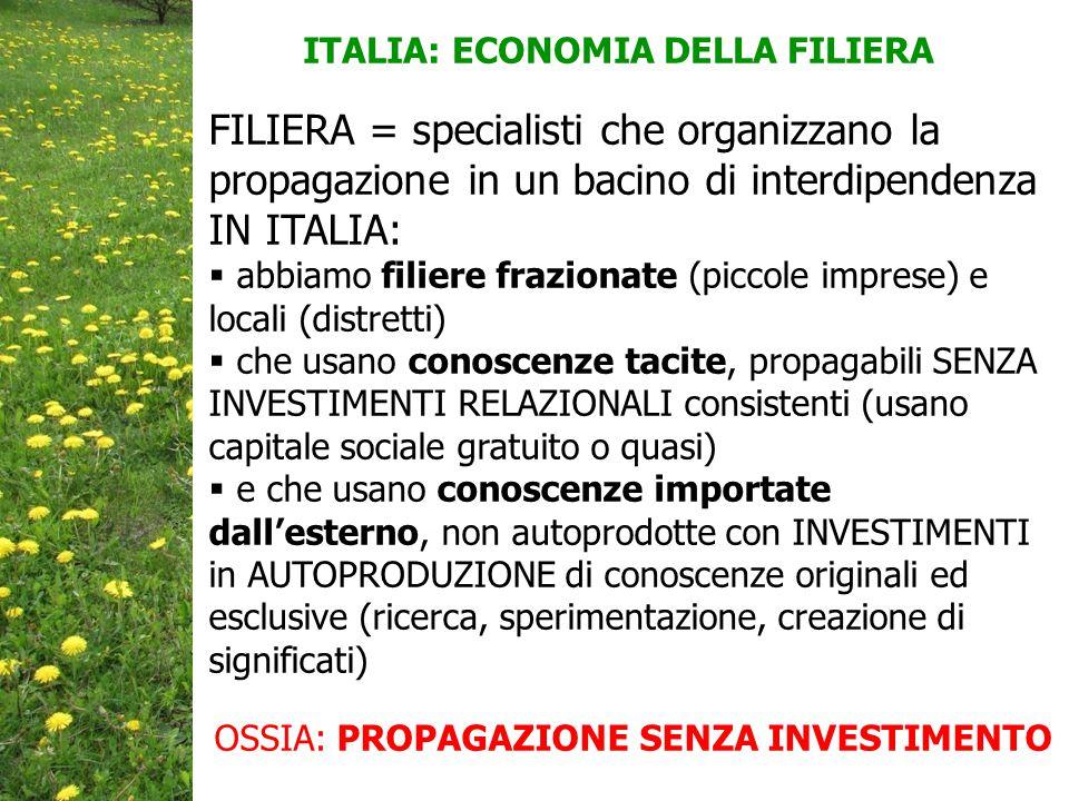 ITALIA: ECONOMIA DELLA FILIERA