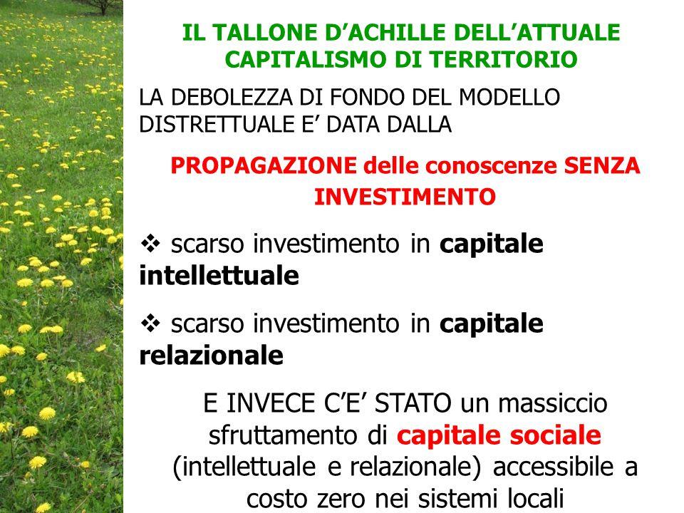 scarso investimento in capitale intellettuale