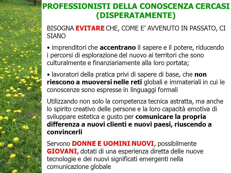 PROFESSIONISTI DELLA CONOSCENZA CERCASI (DISPERATAMENTE)