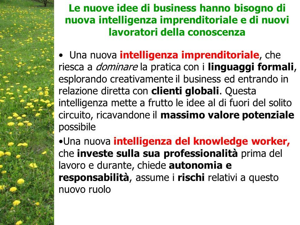 Le nuove idee di business hanno bisogno di nuova intelligenza imprenditoriale e di nuovi lavoratori della conoscenza