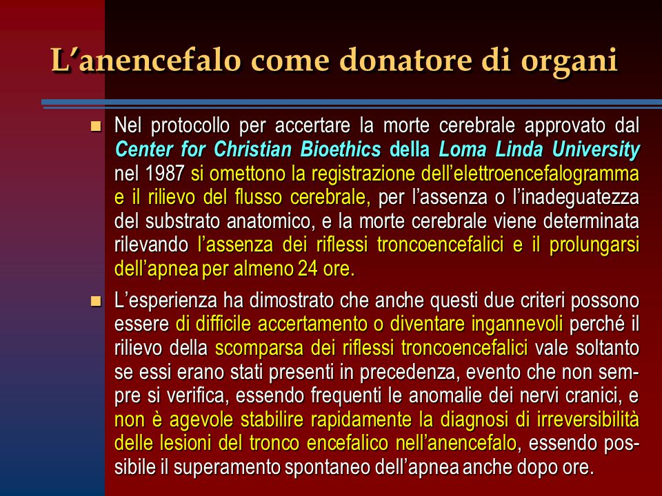 L'anencefalo come donatore di organi