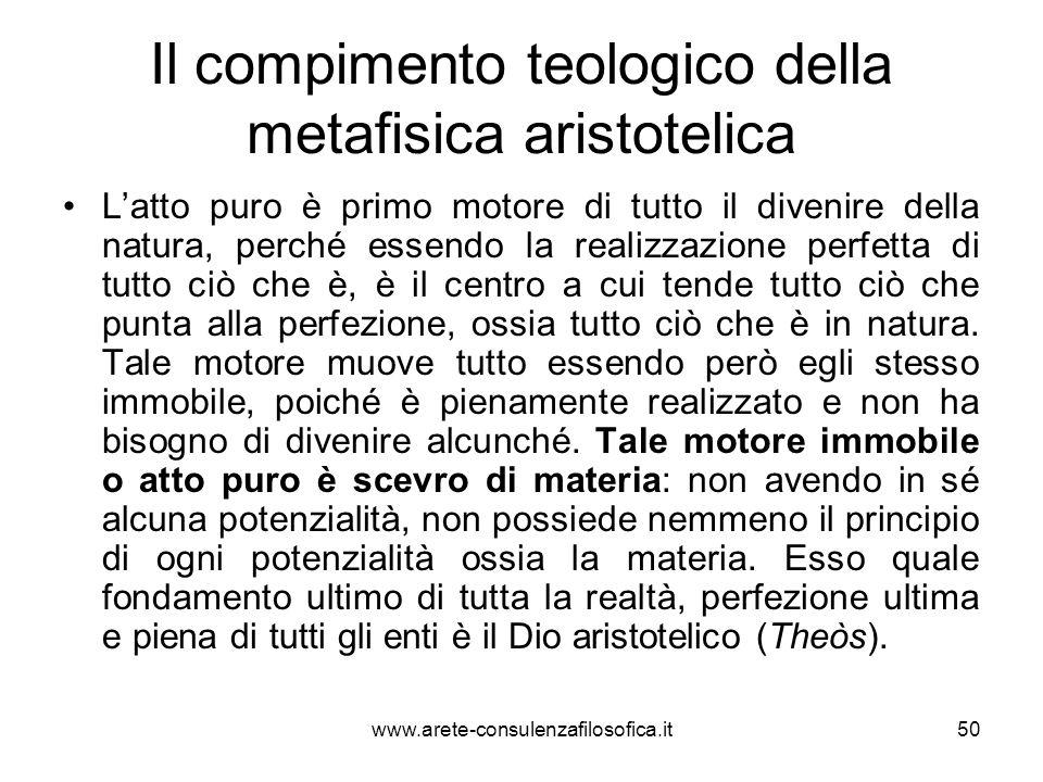 Il compimento teologico della metafisica aristotelica