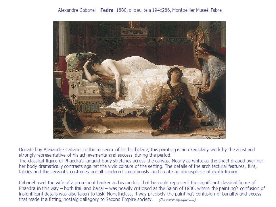 Alexandre Cabanel Fedra 1880, olio su tela 194x286, Montpellier Museè Fabre