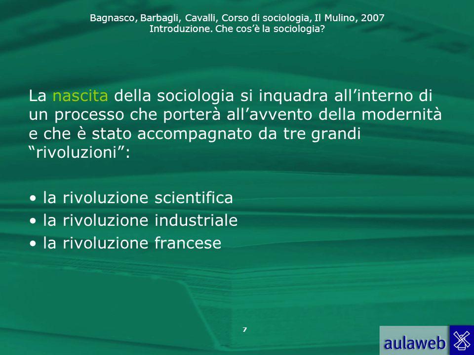 La nascita della sociologia si inquadra all'interno di un processo che porterà all'avvento della modernità e che è stato accompagnato da tre grandi rivoluzioni :