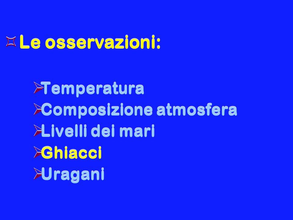 Le osservazioni: Temperatura Composizione atmosfera Livelli dei mari