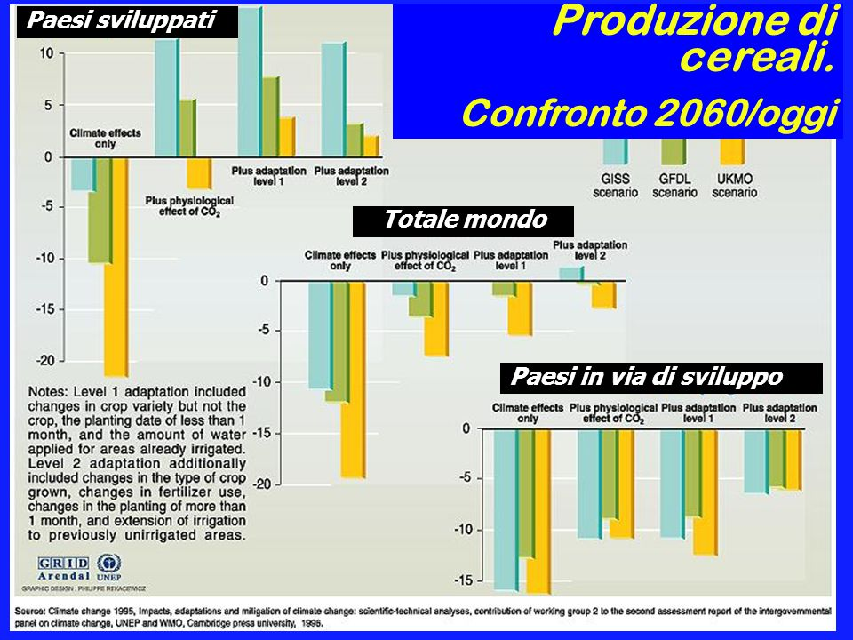 Produzione di cereali. Confronto 2060/oggi Paesi sviluppati
