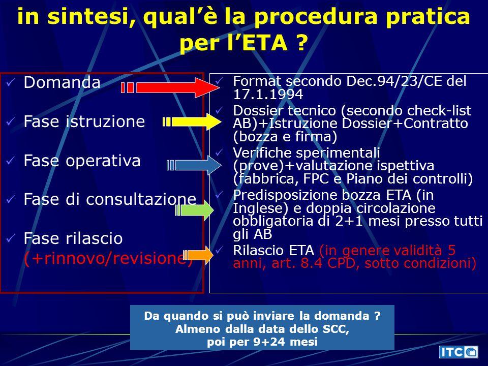 in sintesi, qual'è la procedura pratica per l'ETA