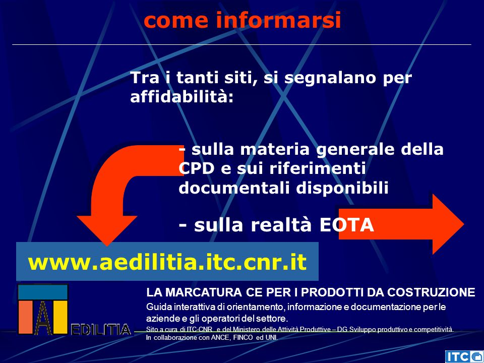 come informarsi www.aedilitia.itc.cnr.it