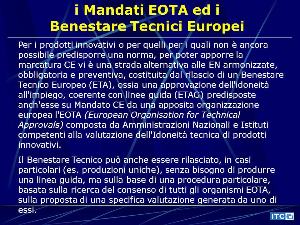 i Mandati EOTA ed i Benestare Tecnici Europei