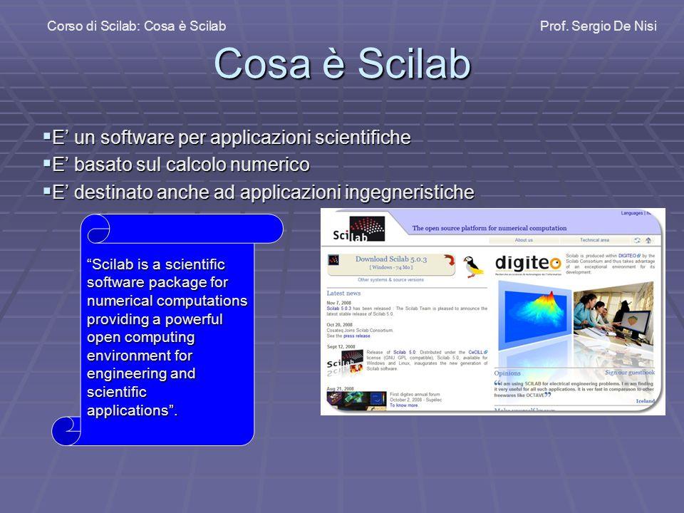 Cosa è Scilab E' un software per applicazioni scientifiche