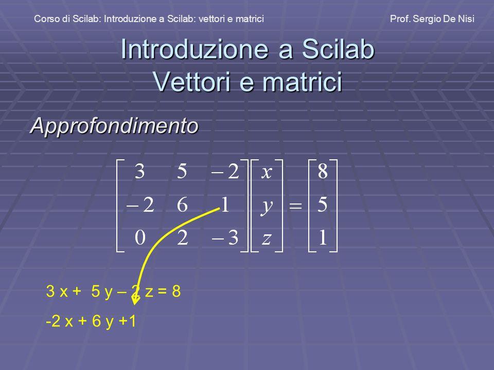 Introduzione a Scilab Vettori e matrici
