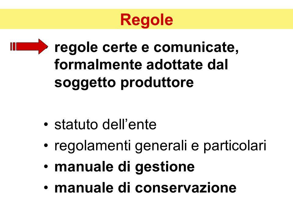 Regole regole certe e comunicate, formalmente adottate dal soggetto produttore. statuto dell'ente.